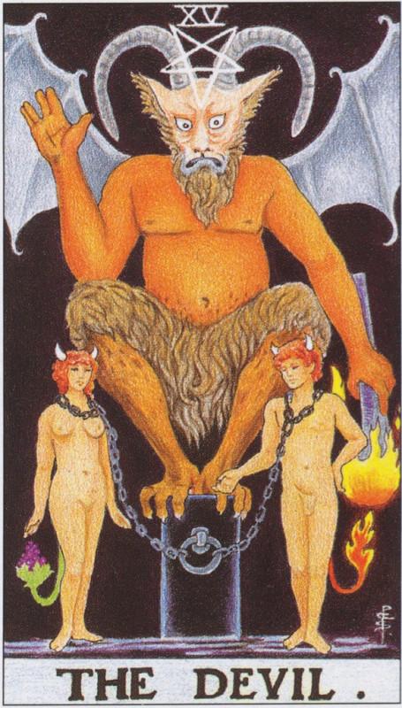 塔罗牌牌意:恶魔正位与恶魔逆位的解析与含义插图