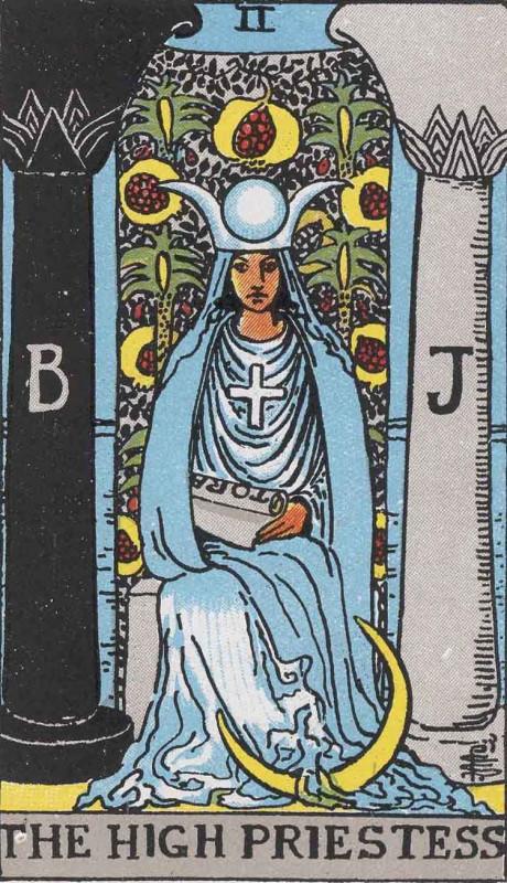 塔罗牌牌意:女祭司正位与女祭司逆位的解析与含义插图