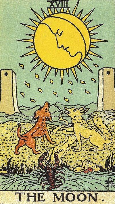塔罗牌牌意:月亮正位与月亮逆位的解析与含义插图