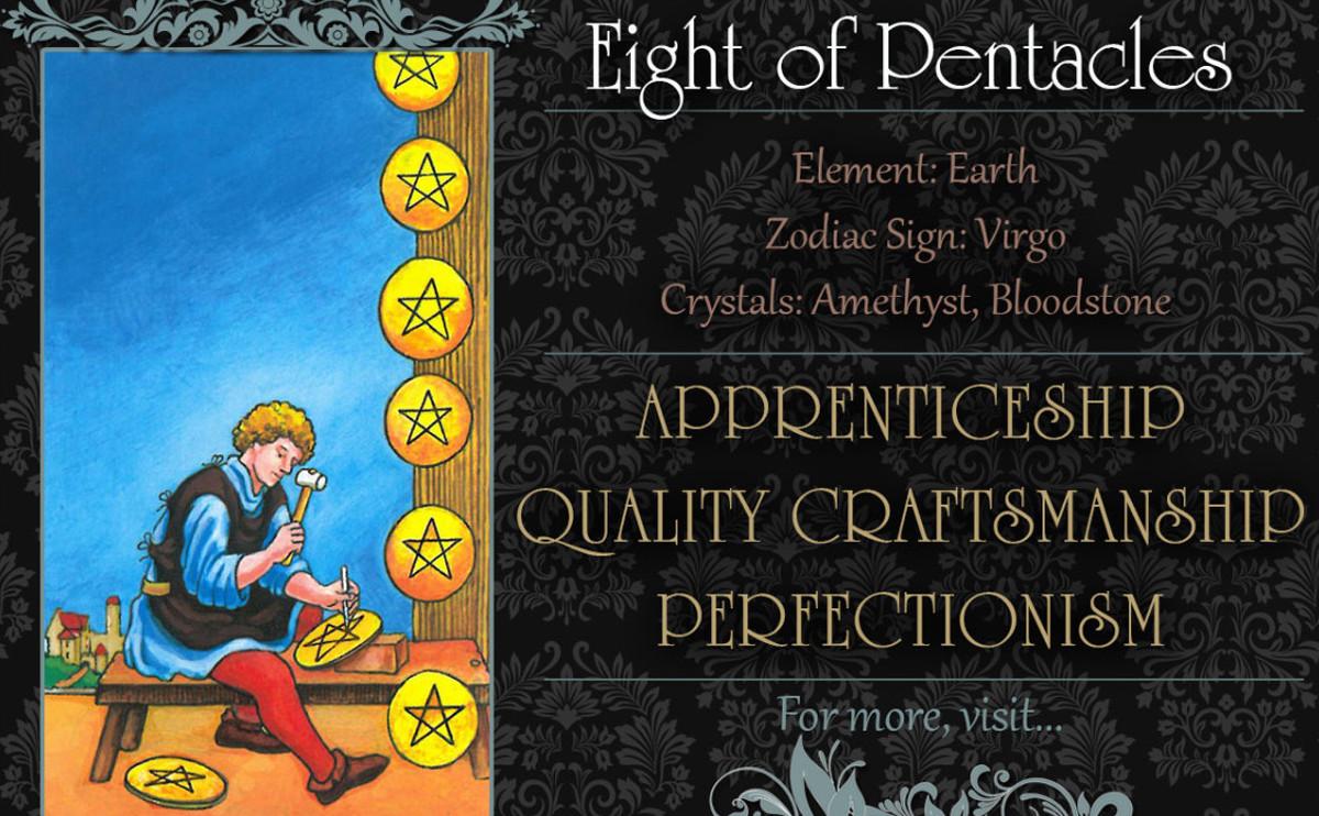 塔羅牌義:錢幣八 Eight of Pentacles